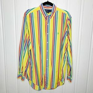 Ralph Lauren Stripe Button Shirt Classic Fit Sz L